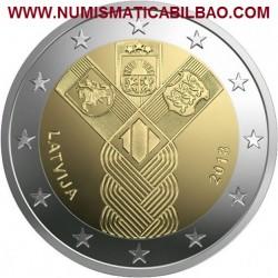 LETONIA 2 EUROS 2018 CENTENARIO DE LA FUNDACION DE LOS ESTADOS BALTICOS SC MONEDA CONMEMORATIVA Lettland Latvia Euro coin