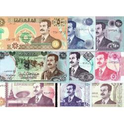 @LOTE DE 9 BILLETES@ IRAK 5+10+25+50+100+250+10000 DINARES 1986 a 2002 SADAM HUSSEIN TODOS SC EXCEPTO 1 SC- Iraq banknotes