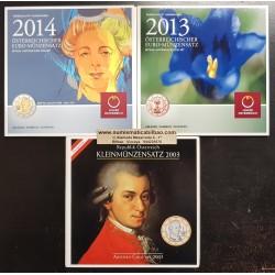 @LOTE DE 3@ AUSTRIA CARTERA EUROS 2003 + 2013 + 2014 SC 1+2+5+10+20+50 Centimos + 1 EURO + 2 EUROS UNC BU SET KMS Österreich