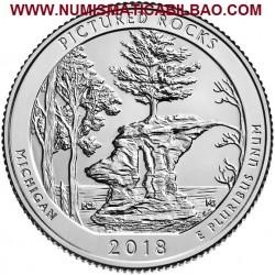 @1ª MONEDA@ ESTADOS UNIDOS 25 CENTAVOS 2018 P Parque Nacional en MICHIGAN MONEDA DE NICKEL SC USA Quarter