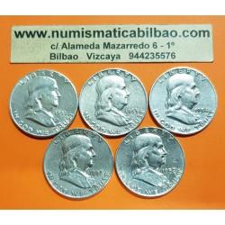@LOTE DE 5 MONEDAS@ ESTADOS UNIDOS 1/2 DOLAR 1951 S + 1953 D + 1954 D + 1957 D + 1958 D BENJAMIN FRANKLIN PLATA KM.163