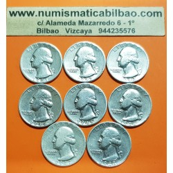 @LOTE DE 8 MONEDAS@ ESTADOS UNIDOS 1/4 DOLAR 1941 + 1942 + 1943 + 1944 + 1945 + 1946 + 1947 + 1948 WASHINGTON KM.164 PLATA
