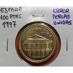 @ERROR PERLAS UNIDAS@ ESPAÑA 100 PESETAS 1997 TEATRO REAL MONEDA SIN CIRCULAR FLOR DE LIS AL REY VARIANTE CATALOGADA