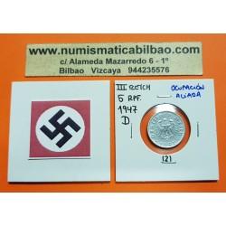 ALEMANIA Ocupación Aliada 5 REICHSPFENNIG 1947 D AGUILA SIN ESVASTICA NAZI KM.A105 MONEDA DE ZINC 2 Germany III REICH