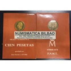 ESPAÑA CARTERA FNMT 1982 PROOF 100 PESETAS 1982 FLOR DE LIS ABAJO JUAN CARLOS I PRUEBA NUMISMATICA