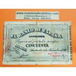 ESPAÑA BANCO DE SANTANDER 50 PESETAS 1936 ANTEFIRMA DEL BANCO MERCANTIL 058479 BILLETE DE LA GUERRA CIVIL