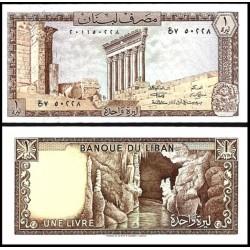 LIBANO 1 LIBRA 1980 RUINAS DE COLUMNAS DE TEMPLO Pick 61C BILLETE SC Lebanon 1 Livre Pound UNC BANKNOTE