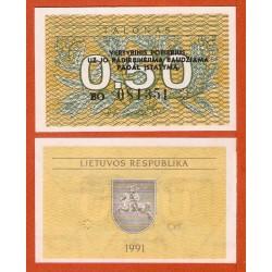 LITUANIA 0,50 TALONAS 1991 FLORES y VALOR Pick 31B BILLETE SC Latvia UNC BANKNOTE