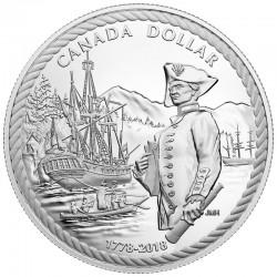 CANADA 1 DOLAR 2018 BARCO DEL CAPITAN COOK EN LA BAHIA NOOTKA 240 ANIVER. MONEDA DE PLATA PROOF ESTUCHE