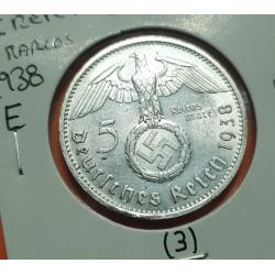 ALEMANIA 5 MARCOS 1938 E AGUILA y ESVASTICA NAZI III REICH @RARA@ KM.94 MONEDA DE PLATA @CASI LUJO@ Germany 5 Reichsmark 3