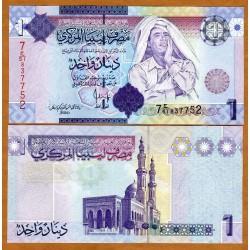 LIBIA 1 DINAR 2009 MUAMAR EL GADAFI y MEZQUITA Pick 71 BILLETE SIN CIRCULAR LIBYA UNC BANKNOTE