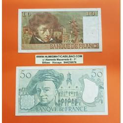 FRANCIA 10 FRANCOS 1978 BERLIOZ KM.150 + FRANCIA 50 FRANCOS 1989 QUENTIN DE LA TOUR Pick 152 BILLETES CIRCULADOS @AGUJERITOS@