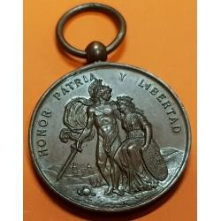 @MUY RARA@ BILBAO MEDALLA 1874 A SUS DEFENSORES DEL SITIO TERCERA GUERRA CARLISTA HONOR y PATRIA COBRE VIZCAYA
