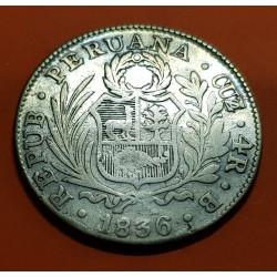 PERU 4 REALES 1836 B Ceca de CUZCO KM.151.1 MONEDA DE PLATA @ESCASA@ silver coin REPUBLICA PERUANA