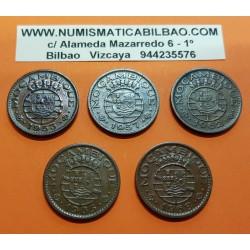 @5 MONEDAS@ MOZAMBIQUE 1 ESCUDO 1953+1957+1962+1965+1968 ESCUDO KM.82 BRONCE MBC+ Portugal MOCAMBIQUE