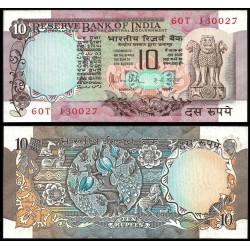 INDIA 10 RUPIAS 1979 ARBOL SAGRADO, ANIMALES y FLORES Pick 81G Firma 85 BILLETE SC UNC BANKNOTE