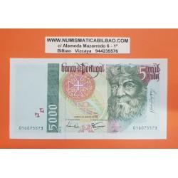 PORTUGAL 5000 ESCUDOS 1995 VASCO DA GAMA y PRECIOSO GALEON Pick 190 BILLETE SC @RARO@ Portuguese UNC BANKNOTE