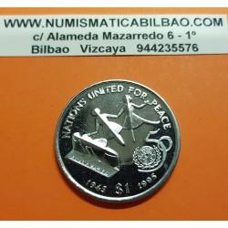 LIBERIA 1 DOLAR 1995 NIÑOS 50 AÑOS DE LAS NACIONES UNIDAS ONU KM.412 MONEDA DE NICKEL SC 1 Dollar