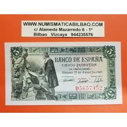ESPAÑA 5 PESETAS 1945 CRISTOBAL COLON y CAPITULACIONES Serie D 5657452 Pick 129 BILLETE SIN CIRCULAR SC PLANCHA Spain