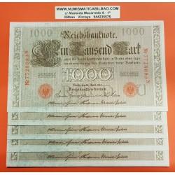 ALEMANIA 1000 MARCOS 1910 IMPERIO MUJERES y AGUILA Serie ROJA Letra U Pick 44 BILLETE SC Germany 1000 Reichsmark UNC BANKNOTE