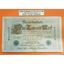 ALEMANIA 1000 MARCOS 1910 IMPERIO MUJERES y AGUILA Serie VERDE Letra D Pick 44 BILLETE MBC Germany 1000 Reichsbanknote