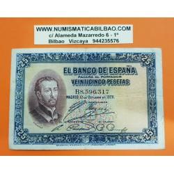 ESPAÑA 25 PESETAS 1926 SAN FRANCISCO JAVIER Serie B 8596317 Pick 71 BILLETE MBC- @RARO@ Spain banknote
