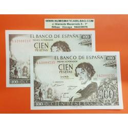 ESPAÑA 100 PESETAS 1965 GUSTAVO ADOLFO BECQUER Serie 1A 9734/9735 Pick 150 @PAREJA CORRELATIVA@ BILLETE SC @MANCHITA@