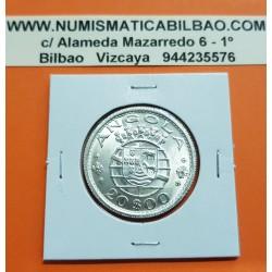 ANGOLA 20 ESCUDOS 1955 ESCUDO KM.74 MONEDA DE PLATA SC República Portuguesa silver coin