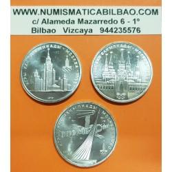 @3 MONEDAS@ RUSIA 1 RUBLO 1978 + 1 RUBLO 1979 OLIMPIADA DE MOSCU 80 NAVE SOYUZ + RASCACIELOS + TORRE DEL RELOJ NICKEL SC