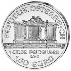AUSTRIA 1,50 EUROS 2012 FILARMONICA MONEDA DE PLATA PURA 999 SC 1 ONZA OZ OUNCE Österreich silver Philharmonic EURO