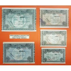 @EXCELENTE CONSERVACION@ EUSKADI 5+10+25+50+100 PESETAS 1937 BILBAO Juego de 5 BILLETES de EUZKADI GUERRA CIVIL 1936 Serie 5