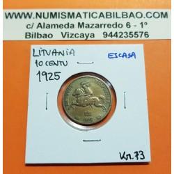 LITUANIA 10 CENTU 1925 CABALLERO MEDIEVAL KM.73 MONEDA DE LATON MBC+ @ESCASA@ Lietuva Lithuania LIETUVOS RESPUBLIKA