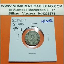 SERBIA 5 PARA 1904 AGUILA y VALOR KM.18 MONEDA DE NICKEL MBC @ESCASA@ Independiente de Yugoslavia