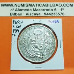 PERU 1 SOL 1914 F.G. Ceca de Lima DAMA SENTADA KM.196.26 MONEDA DE PLATA EBC Brillo original República Peruana