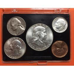 @OFERTA@ 1962 D UNITED STATES US MINT UNCIRCULATED COIN SET 1+5+10+25 CENTAVOS + 1/2 DOLAR 1962 D PLATA y NICKEL ESTADOS UNIDOS