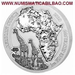 @1 ONZA 2018@ RUANDA 50 FRANCOS 2018 AFRICAN OUNCE JIRAFAS MONEDA DE PLATA SC OZ SILVER Rwanda 50 Francs AMAFARANGA Jiraffe