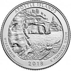 @2ª MONEDA@ ESTADOS UNIDOS 25 CENTAVOS 2018 P Parque Nacional APOSTLE ISLANDS en WISCONSIN MONEDA DE NICKEL SC USA Quarter
