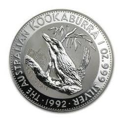 AUSTRALIA 1 DOLAR 1992 KOOKABURRA MONEDA DE PLATA PURA SC $1 Dollar Coin ONZA OZ OUNCE CAPSULA