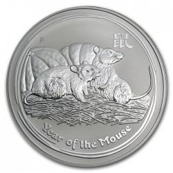 AUSTRALIA 1 DOLAR 2008 AÑO DE LA RATA 2ª SERIE LUNAR MONEDA DE PLATA $1 dollar silver OZ ONZA OUNCE YEAR OF THE MOUSE