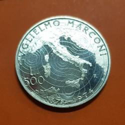 ITALIA 500 LIRAS 1974 INVENTOR GUILLERMO MARCONI y MAPA KM.104 MONEDA DE PLATA PROOFLIKE Italy 500 Lire silver