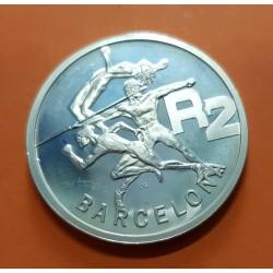 SUDAFRICA 2 RAND 1992 OLIMPIADA DE BARCELONA 1992 ANTORCHA KM.147 MONEDA DE PLATA PROOF 1 ONZA South Africa silver
