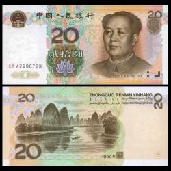 CHINA 20 YUAN 1999 MAO TSE TUNG y BARQUERO EN RIO Color Marrón Pick 899 BILLETE SC UNC BANKNOTE