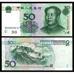 CHINA 50 YUAN 1999 MAO TSE TUNG y TEMPLO SAGRADO Color Verde Pick 900 BILLETE SC @ESCASO@ UNC BANKNOTE