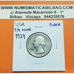 ESTADOS UNIDOS 1/4 DOLAR 1934 WASHINGTON MONEDA DE PLATA @RARA@ USA silver Quarter