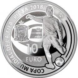 ESPAÑA 10 EUROS 2018 CAMPEONATO MUNDIAL DE FUTBOL RUSIA 2018 MONEDA DE PLATA PROOF ESTUCHE CERTIFICADO FNMT