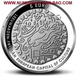 HOLANDA 5 EUROS 2018 LEEUWARDEN CAPITAL EUROPEA DE LA CULTURA y REY GUILLERMO MONEDA SIN CIRCULAR @COINCARD@ The Netherlands