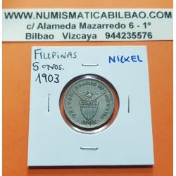 FILIPINAS 5 CENTAVOS 1903 ESCUDO KM.164 MONEDA DE NICKEL MBC Ocupacion de Estados Unidos UNITED STATES OF AMERICA PHILIPPINES