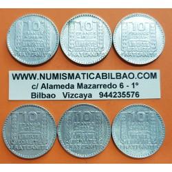 @6 MONEDAS@ FRANCIA 10 FRANCOS 1929+1930+1931+1932+1933+1938 Ceca de TURIN KM.878 PLATA MBC+ France Silver 10 Francs