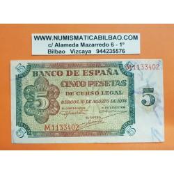 "@RARA SERIE ""M""@ ESPAÑA 5 PESETAS 1938 BURGOS M 1133402 Pick 110A BILLETE MBC+ Spain banknote"