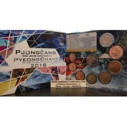 ESLOVAQUIA CARTERA OFICIAL EUROS 2018 SC 1+2+5+10+20+50 Centimos + 1+2 EUROS 2018 OLIMPIADA DE PYEONGCHANG UNC SET KMS Slovakia